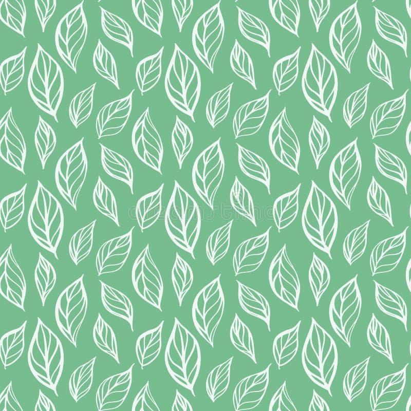 Hand dragen sömlös modell för blad Tebladvektorillustration Repeatable bakgrund med botaniskt motiv vektor illustrationer