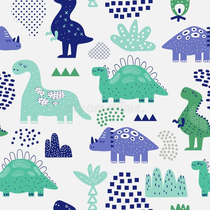 Hand dragen sömlös modell för dinosaurier Idérik barnslig bakgrund med gulliga Dino för tyg, textil vektor illustrationer
