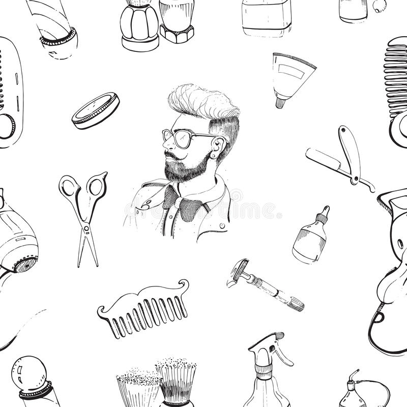 Hand dragen sömlös modell för frisersalong med tillbehör hårkam, rakkniv som rakar borsten, sax, hårtork, pol för barberare s royaltyfri illustrationer