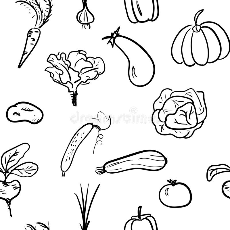 Hand dragen sömlös modell för grönsak också vektor för coreldrawillustration vektor illustrationer