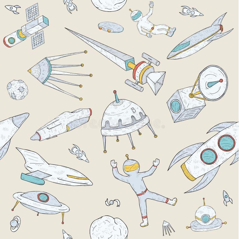 Hand dragen sömlös modell för klotterastronomi Bakgrund med utrymme anmärker, planeter, anslutningar, raket, satelliter royaltyfri illustrationer