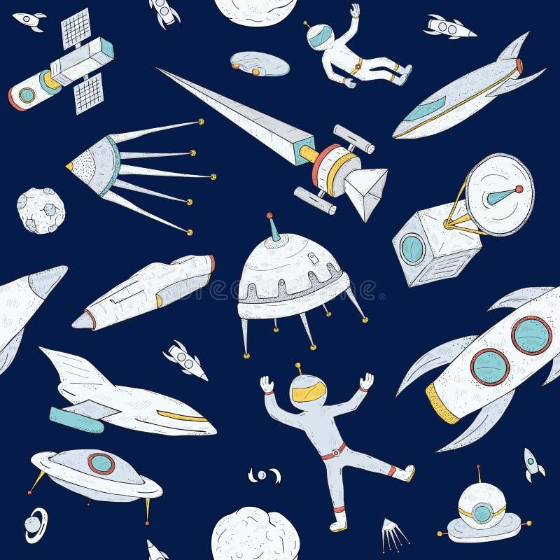 Hand dragen sömlös modell för klotterastronomi Mörk bakgrund med utrymme anmärker, planeter, anslutningar, raket, satelliter stock illustrationer