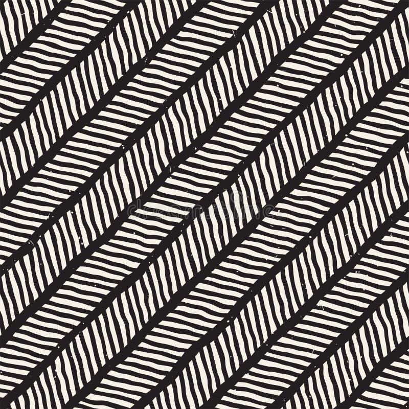 Hand dragen sömlös modell för stil Abstrakt geometrisk belägga med tegel bakgrund i svartvitt Vektorklotterlinje galler stock illustrationer