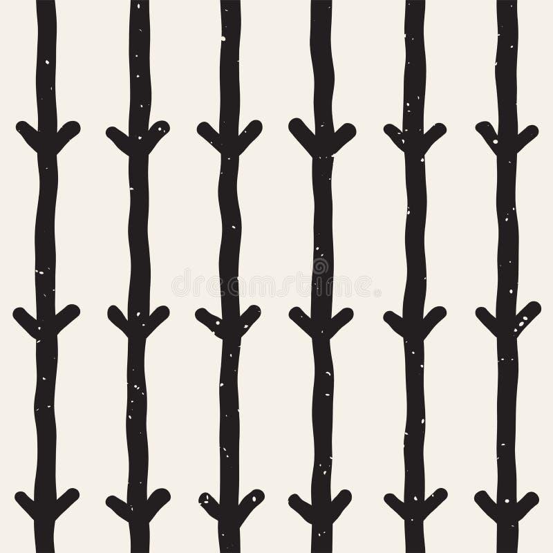 Hand dragen sömlös modell för svartvitt färgpulverabstrakt begrepp Vektorgrungetextur Monokrom geometrisk formmålarfärgborste royaltyfri illustrationer