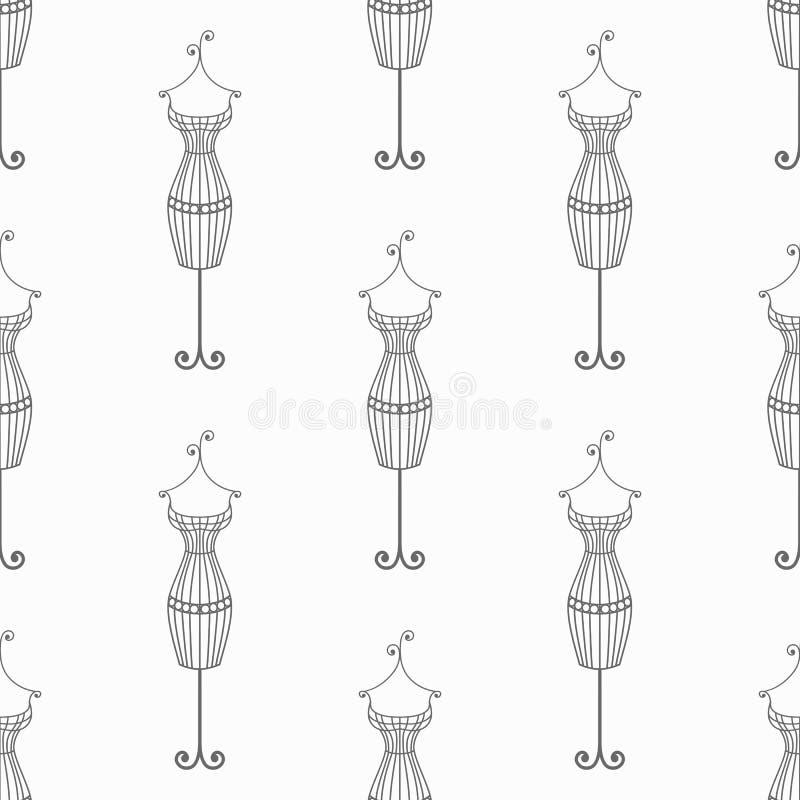 Hand dragen sömlös modell för tappningjärnskyltdocka Dragen bakgrund för vektor hand vektor illustrationer