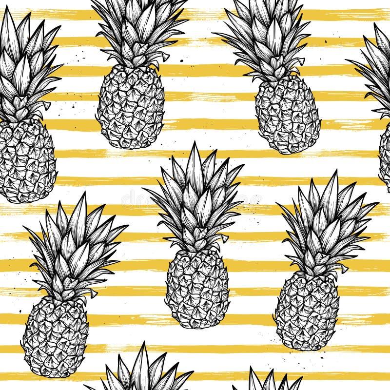 Hand dragen sömlös modell för vektor - ananas med randig baksida vektor illustrationer