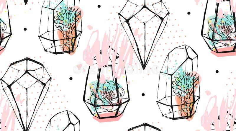Hand dragen sömlös modell för vektorabstrakt begrepp med grova terrarium- och suckulentväxter i pastellfärgad färg som isoleras p royaltyfri illustrationer
