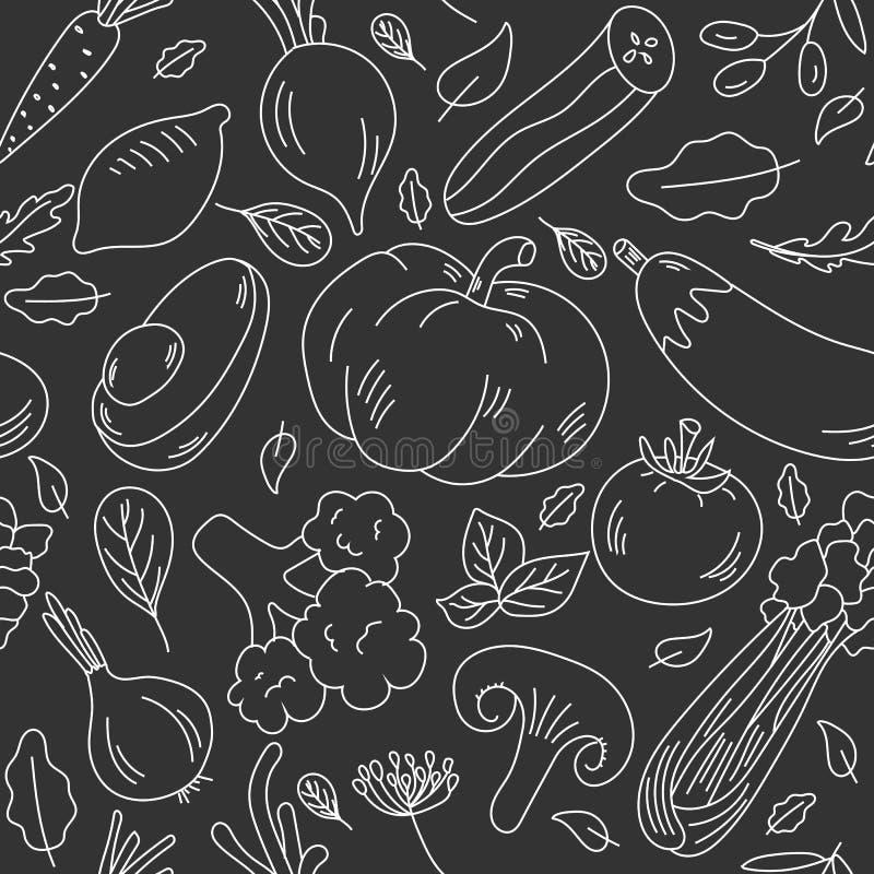 Hand dragen sömlös modell med grönsaker Skissa stilvektoruppsättningen royaltyfri illustrationer