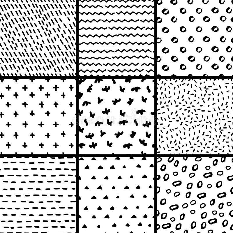 Hand dragen sömlös modellsamling Enkel textur för bakgrund stock illustrationer