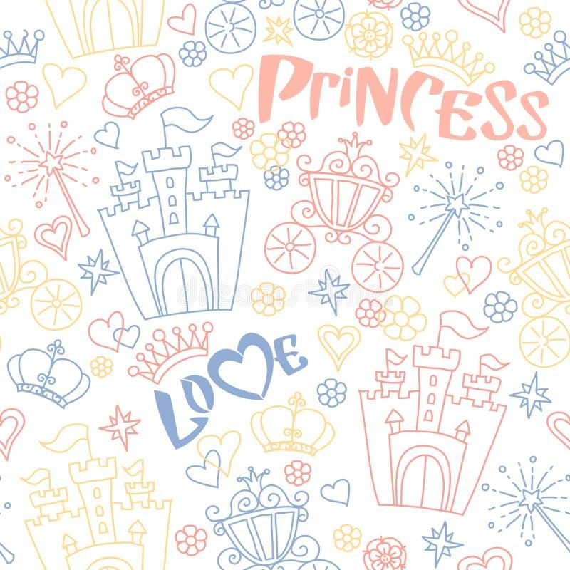 Hand dragen sömlös prinsessamodell för vektor stock illustrationer