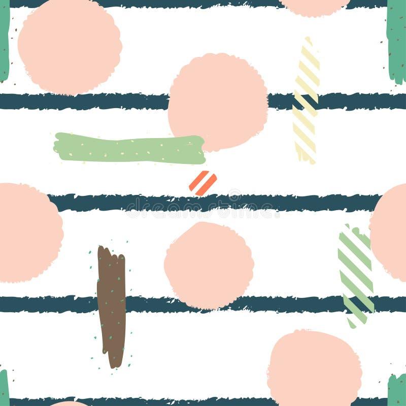 Hand dragen sömlös repetitionmodell med runda former i textur för pastellfärgade rosa färger och bandpå vit bakgrund royaltyfri illustrationer