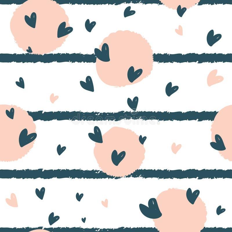 Hand dragen sömlös repetitionmodell med runda former och hjärtor i textur för pastellfärgade rosa färger och för blåa band på vit stock illustrationer