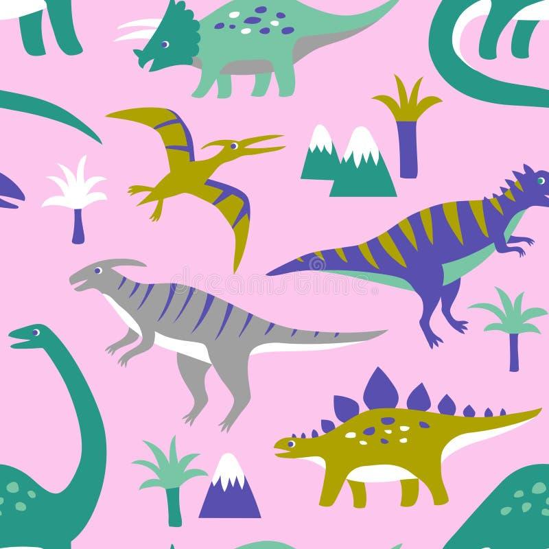 Hand dragen sömlös vektormodell med gulliga dinosaurier, berg och palmträd vektor illustrationer