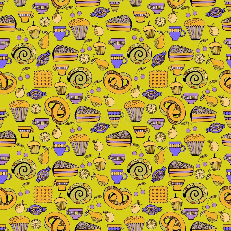 Download Hand Dragen Sötsak- Och Godisuppsättning Sömlös Modell För Färgrik Vektor Vektor Illustrationer - Illustration av kaka, illustration: 76700870