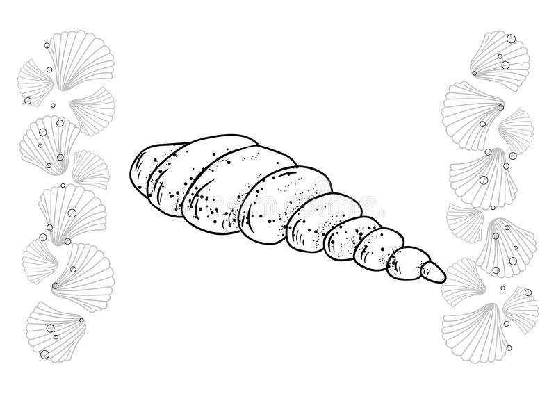 Hand dragen samling Mörk och vit vektorillustration royaltyfria bilder