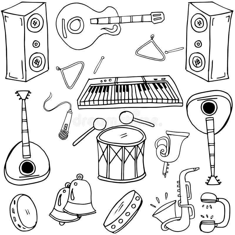 Hand dragen samling med musikklotter royaltyfri illustrationer
