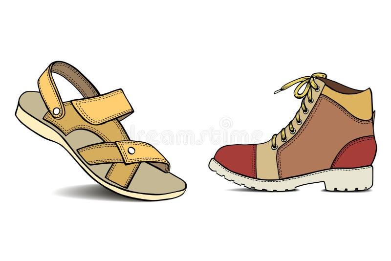 Hand dragen sandal royaltyfri illustrationer