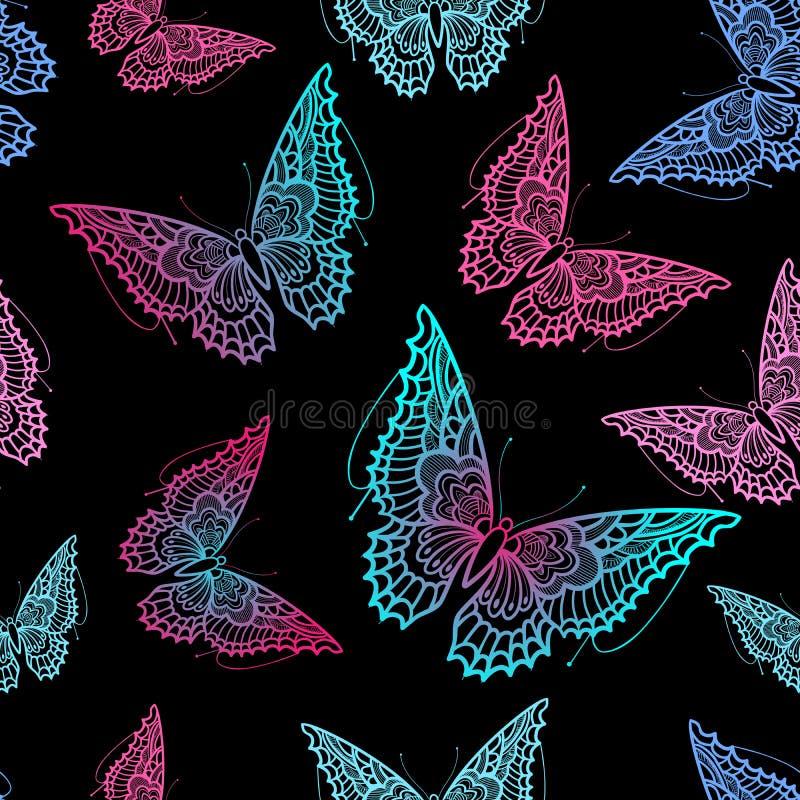Hand dragen seamlessvectorfjärilsmodell Dekorativa abstrakta klotterdesignbeståndsdelar med lutning vektor illustrationer