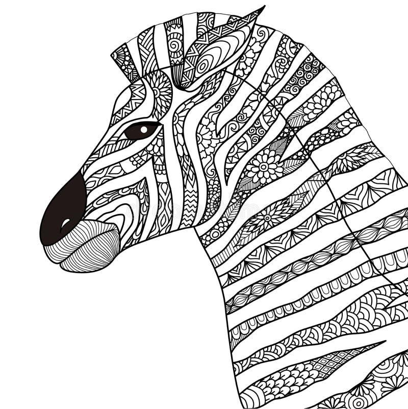 Hand dragen sebrazentanglestil för färgläggningboken, tatuering, t-skjortadesign, logo vektor illustrationer