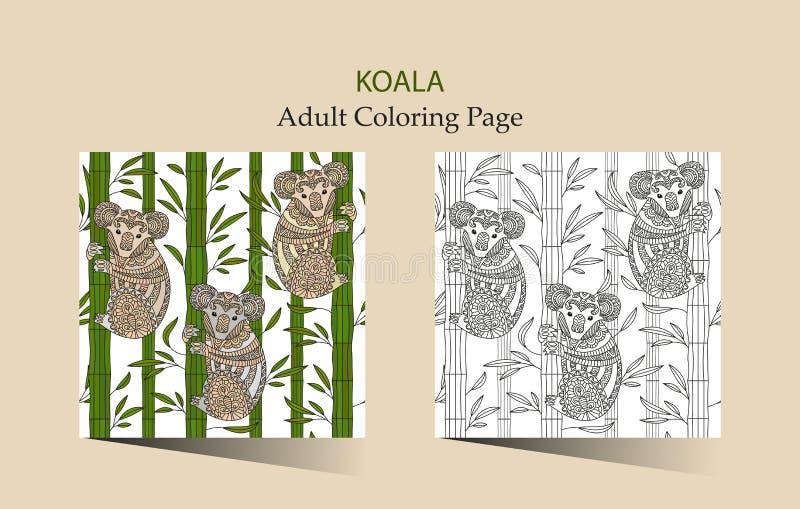 Hand dragen sida för vektorzentanglefärgläggning för vuxna människor med den gulliga koalan royaltyfri illustrationer