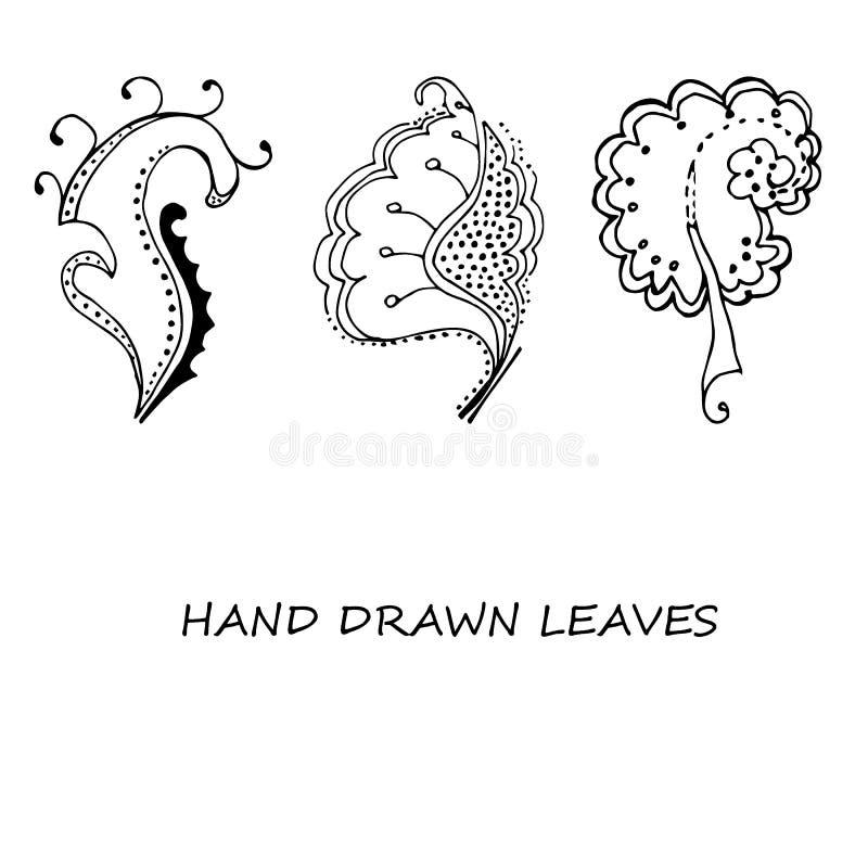 Hand-dragen sidaklotterupps?ttning Svarta konturer p? vit bakgrund isolerat royaltyfri illustrationer