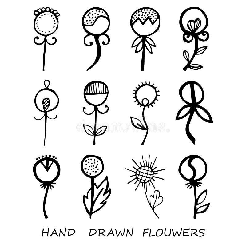 Hand-dragen sidaklotterupps?ttning Svarta konturer p? vit bakgrund isolerat stock illustrationer