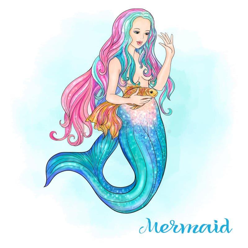 Hand dragen sjöjungfru som rymmer en guld- fisk, på vattenfärgbakgrund vektor illustrationer