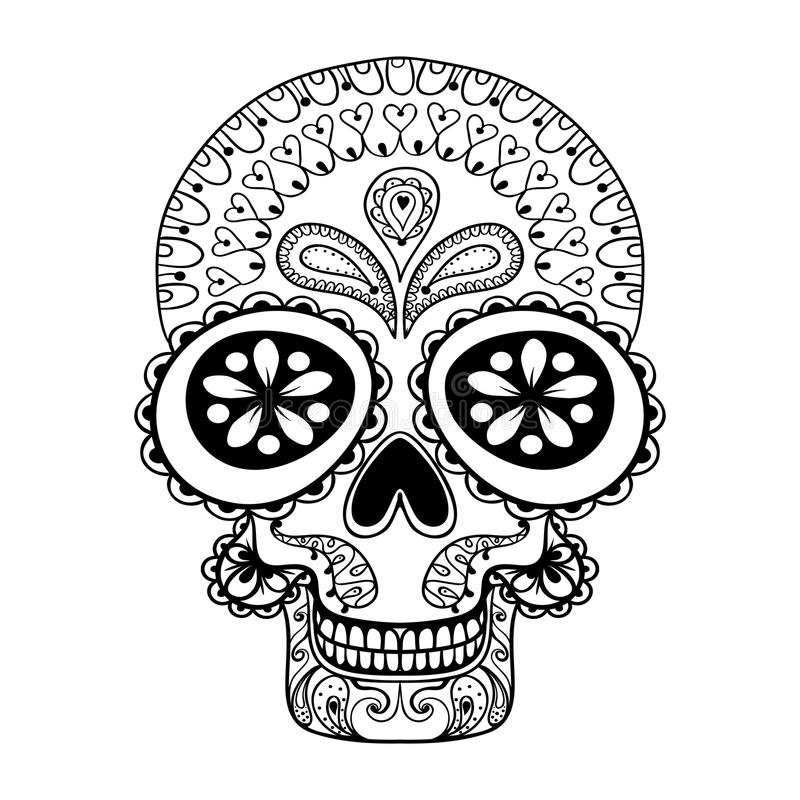 Hand dragen skalle i zentanglestil, stam- totem för tatueringen, annons royaltyfri illustrationer