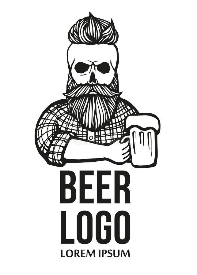 Hand-dragen skallehipsterkille med mustaschen, skägg med öl Man med exponeringsglas av alkohol rengöringsduk för jordklotlogovekt vektor illustrationer