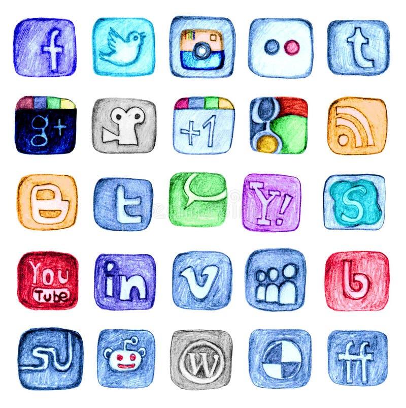Hand dragen social massmediasymbolsuppsättning vektor illustrationer