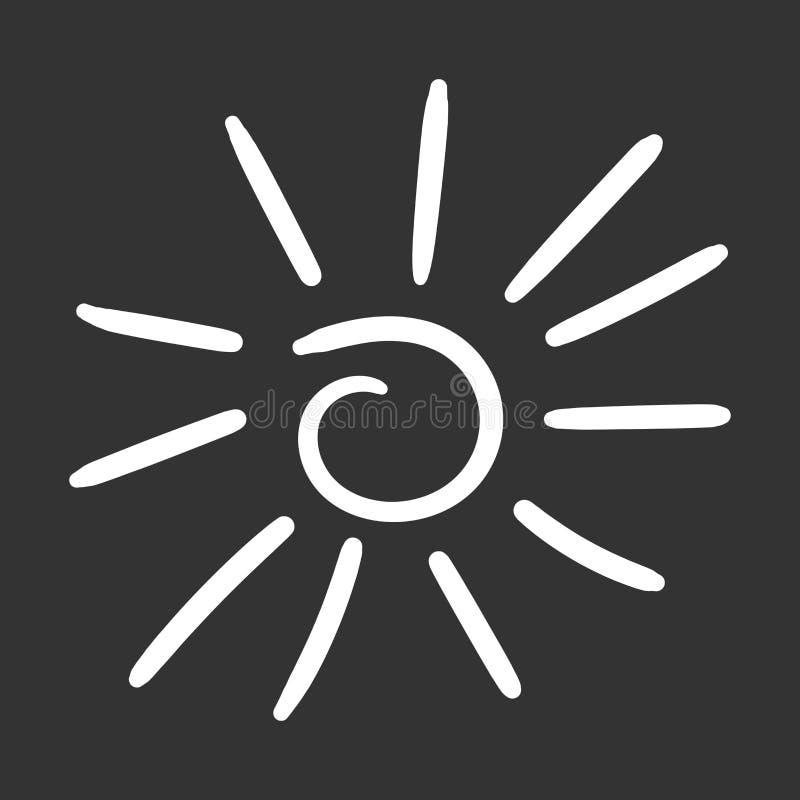 Hand dragen solsymbol Vektorillustration som isoleras på svart backg stock illustrationer