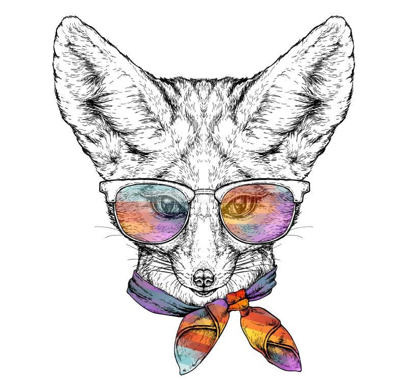 Hand dragen stående av den gulliga Fennec räven i exponeringsglas och med flugan Vektorillustration som isoleras på vit vektor illustrationer