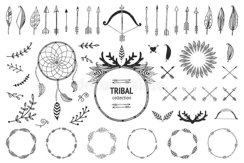 Hand dragen stam- samling royaltyfri illustrationer