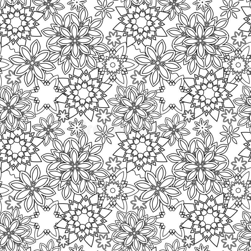 Hand dragen stil för blom- klotter för zentangle stam- royaltyfri illustrationer
