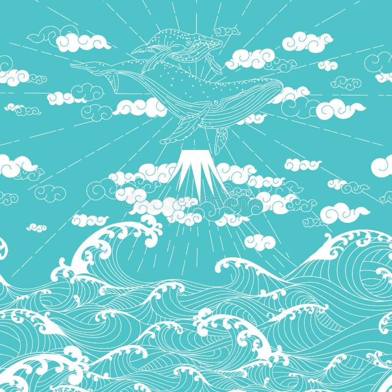 Hand dragen stil för sömlöst klotter för fantasi japansk vektor illustrationer
