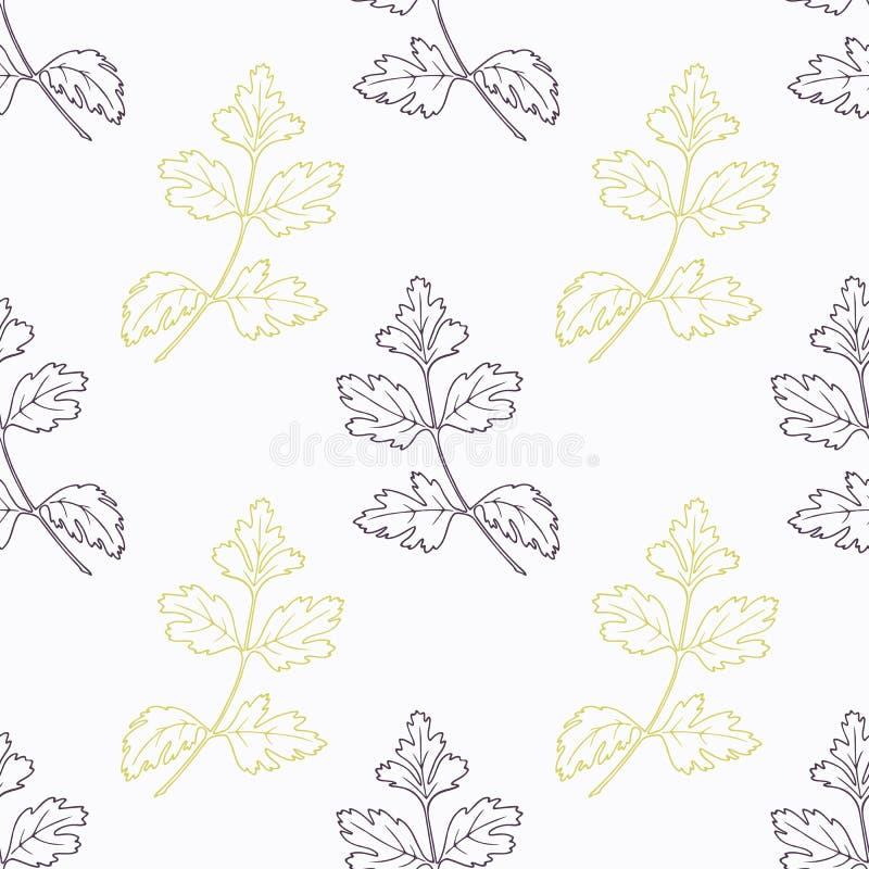 Hand dragen stiliserad svart och gräsplan för persilja filial stock illustrationer