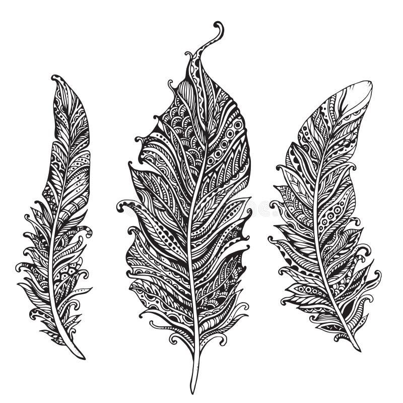 Hand dragen stiliserad svartvit vektorsamling för fjädrar stock illustrationer