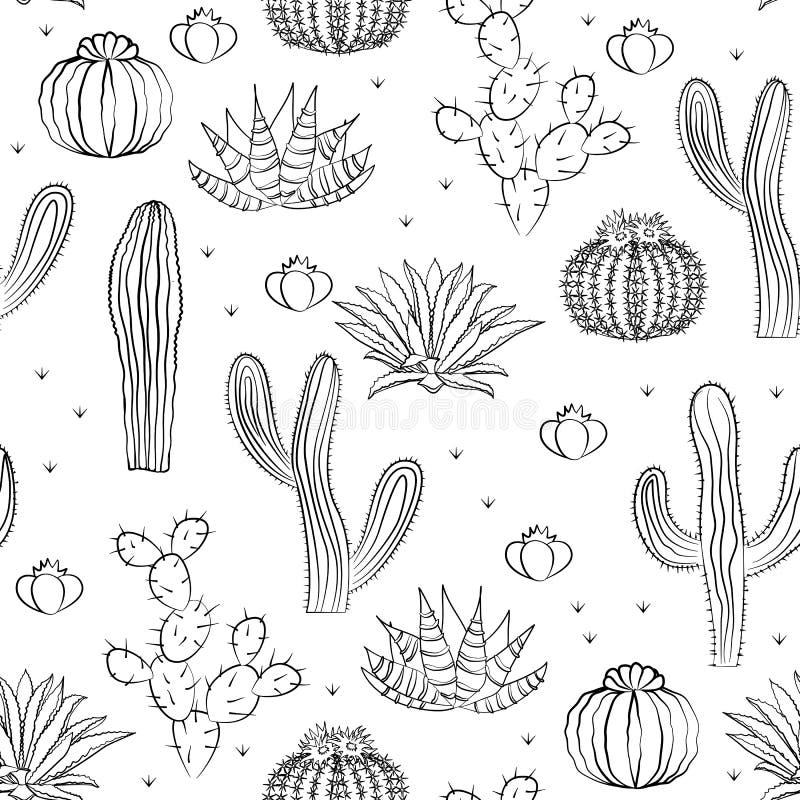 Hand dragen suckulent prydnad också vektor för coreldrawillustration Sömlös modell med kaktuns royaltyfri illustrationer