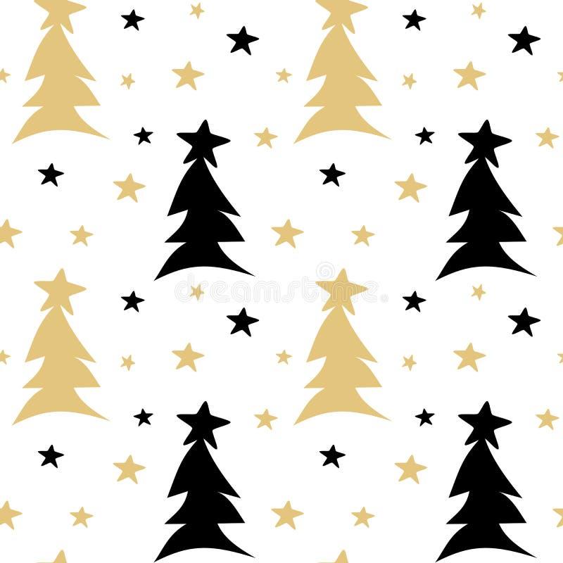 Hand dragen svart för vektormodell för vit guld sömlös illustration för bakgrund med abstrakta julträd och stjärnor stock illustrationer