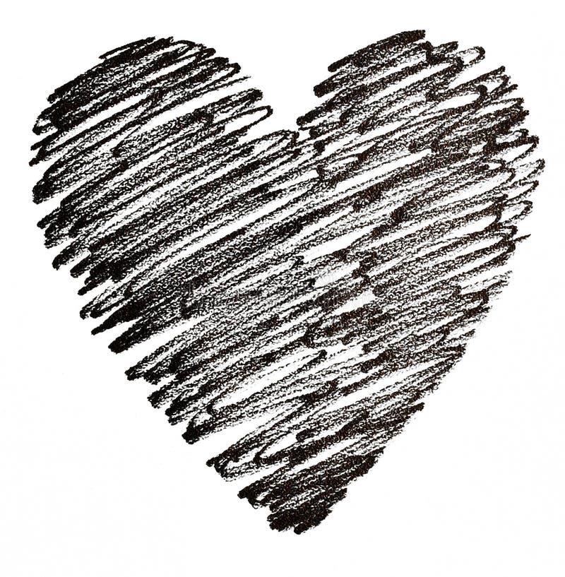 Hand dragen svart hjärta stock illustrationer