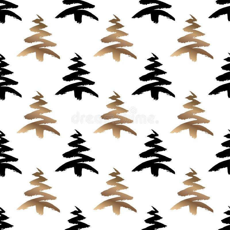 Hand dragen svart och guld- sömlös modell för julträd som isoleras på en vit bakgrund stock illustrationer