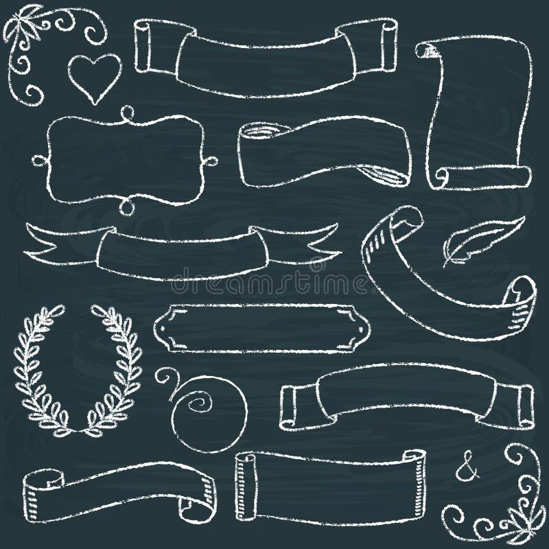 Hand-dragen svart tavlaramuppsättning royaltyfri illustrationer