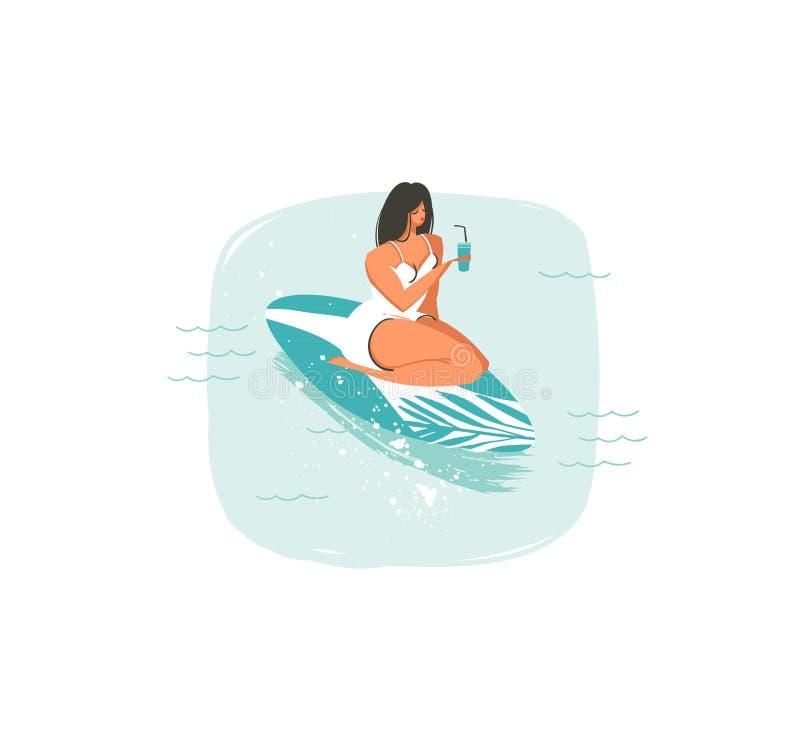 Hand dragen symbol för illustrationer för tid för sommar för vektorabstrakt begrepptecknad film rolig med simningsurfareflickan p stock illustrationer