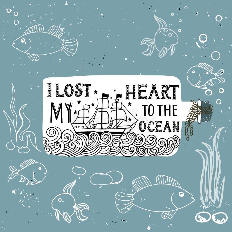 Hand dragen tappningetikett med ett skepp i en flask- och handbokstäver Denna illustration kan användas som ett tryck på T-tröja  royaltyfri illustrationer