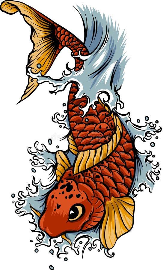 Hand dragen tatuering för färgstänk för för översiktsKoi fisk och vatten japansk royaltyfri illustrationer