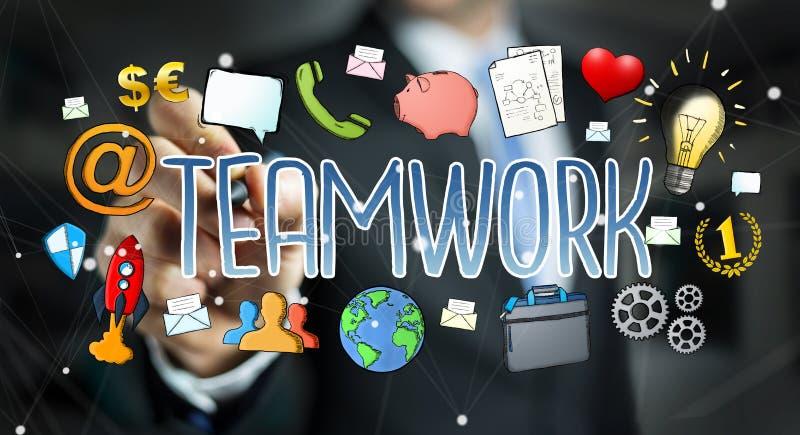 Hand-dragen teamworkpresentation för affärsman teckning vektor illustrationer