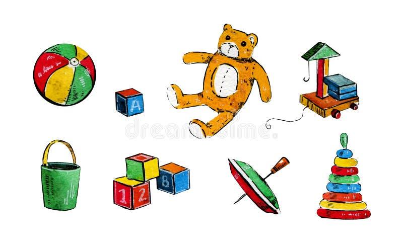 Hand dragen tecknad filmvattenfärguppsättning av olika barnleksaker stock illustrationer