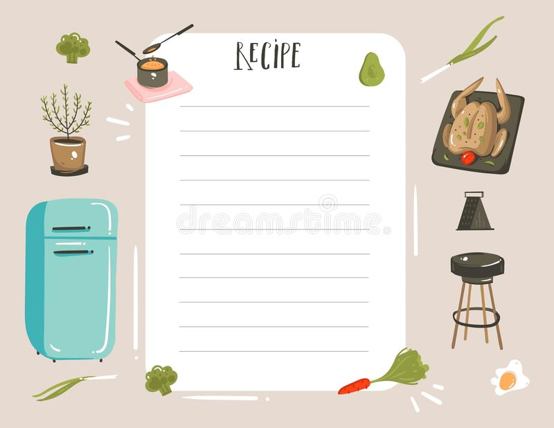 Hand dragen templete för stadsplanerare för kort för recept för illustrationer för studio för matlagning för tecknad film för vek royaltyfri illustrationer