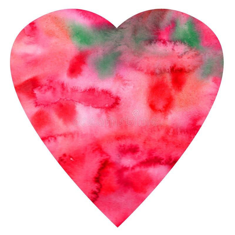 Hand-dragen textural hjärtavalentin för vattenfärg stock illustrationer