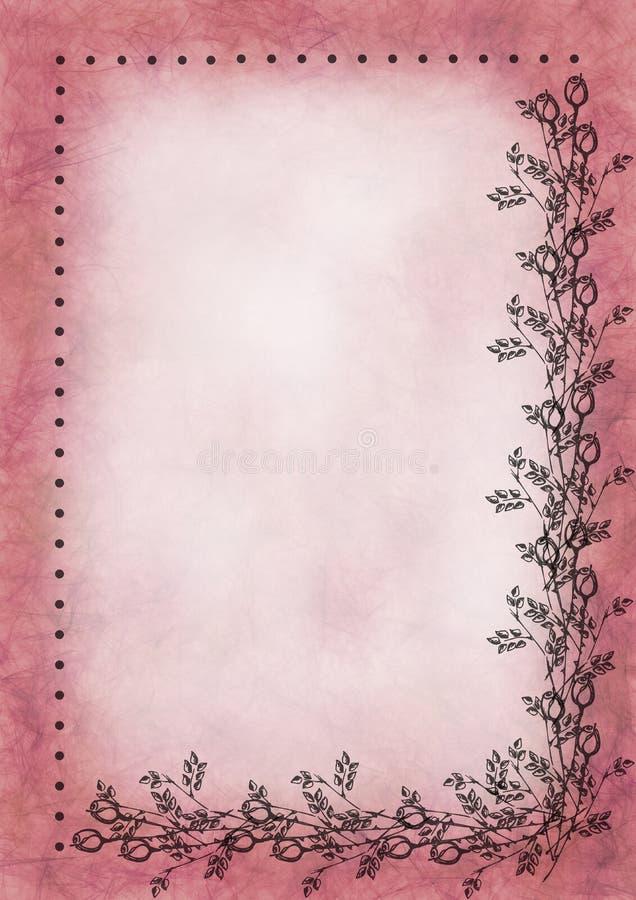 Hand dragen texturerad blom- bakgrund Skrynkligt papper med rosen och sidor stock illustrationer